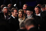 French President Emmanuel Macron and Rabbi Israel Meir Lau Chairman of the Yad Vashem Council attend the World Holocaust Forum marking 75 years since the liberation of the Nazi extermination camp Auschwitz, at Yad Vashem Holocaust memorial centre in Jerusalem January 23, 2020. (Ronen Zvulun, Pool via AP)