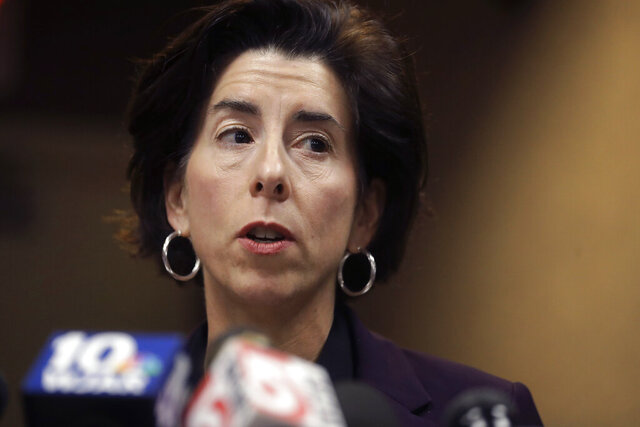 Rhode Island Gov. Gina Raimondo faces reporters during a news conference, Sunday, March 1, 2020, in Providence, R.I. Raimondo, took questions on what officials described as the state's first presumptive positive case of coronavirus. Officials said the person is in their 40s and had traveled to Italy in February of 2020. (AP Photo/Steven Senne)