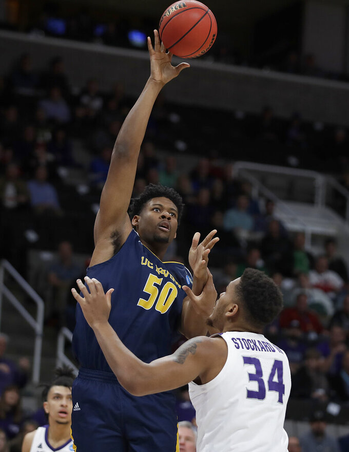 UC Irvine forward Elston Jones (50) shoots over Kansas State forward Levi Stockard III (34) during the first half of a first round men's college basketball game in the NCAA Tournament Friday, March 22, 2019, in San Jose, Calif. (AP Photo/Ben Margot)