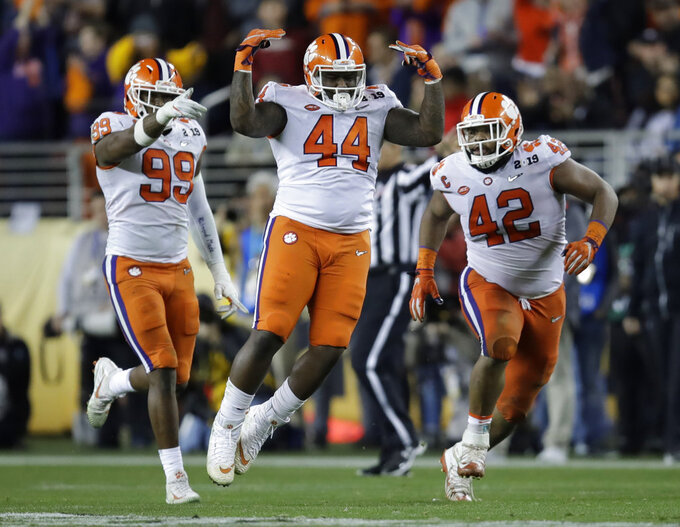 Clemson's Nyles Pinckney (44) reacts after stopping a fake field goal by Alabama during the second half of the NCAA college football playoff championship game, Monday, Jan. 7, 2019, in Santa Clara, Calif. (AP Photo/Ben Margot)