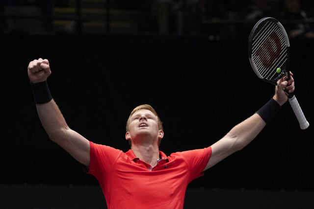 Kyle Edmund, of Britain, reacts after defeating Andreas Seppi, of Italy, in the finals of the New York Open tennis tournament, Sunday, Feb. 16, 2020, in Uniondale, N.Y. (AP Photo/Mark Lennihan)