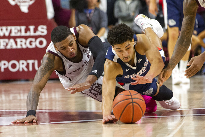 Gonzaga guard Ryan Woolridge (4) dives for a loose ball against Texas A&M guard Savion Flagg (1) during the first half of an NCAA college basketball game Friday, Nov. 15, 2019, in College Station, Texas. (AP Photo/Sam Craft)