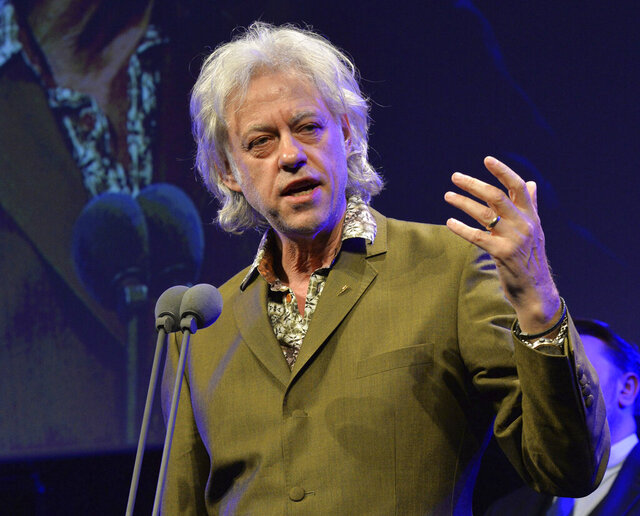 FILE - In this May 21, 2015 file photo, Bob Geldof appears at the 60th Ivor Novello Awards in London. Geldof's Live Aid concerts have raised millions. Those shows included performances by Queen, U2, Led Zeppelin and Madonna. He has hosted Live 8 concerts and convinced industrialized nations to pledge an increase in aid to Africa by $25 billion. (Photo by Mark Allan /Invision/AP, File)