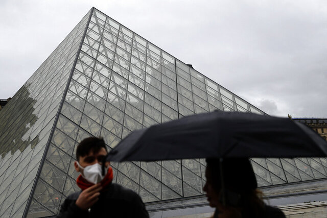 FILE - In this Monday, March 2, 2020 file photo, tourists wearing a mask walk away from the Louvre museum in Paris. Museum staffers who had stayed off the job since Sunday for fear of infection voted overwhelmingly on Wednesday to resume work. (AP Photo/Christophe Ena, File)