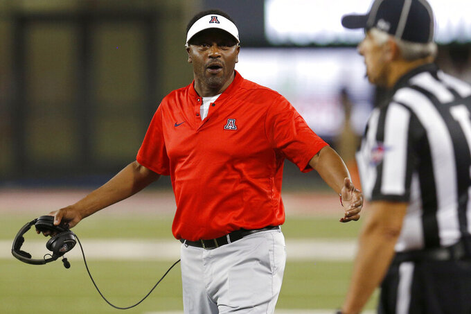 Arizona head coach Kevin Sumlin reacts to an official's call in the first half during an NCAA college football game against Southern Utah, Saturday, Sept. 15, 2018, in Tucson, Ariz. Arizona is looking for more consistency after a disappointing first season under coach Kevin Sumlin. The Wildcats return several key players, led by quarterback Khalil Tate and running back J.J. Taylor. Arizona opens its season playing at Hawaii on Aug. 24. (AP Photo/Rick Scuteri)