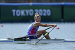 Hanna Prakatsen of the Russian Olympic Committee competes during the women's rowing single sculls at the 2020 Summer Olympics, Friday, July 23, 2021, in Tokyo, Japan. (AP Photo/Lee Jin-man)