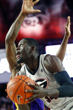 Georgia forward Derek Ogbeide (34) looks to shoot against LSU during an NCAA college basketball game in Athens, Ga., Saturday, Feb. 16, 2019. (Joshua L. Jones/Athens Banner-Herald via AP)