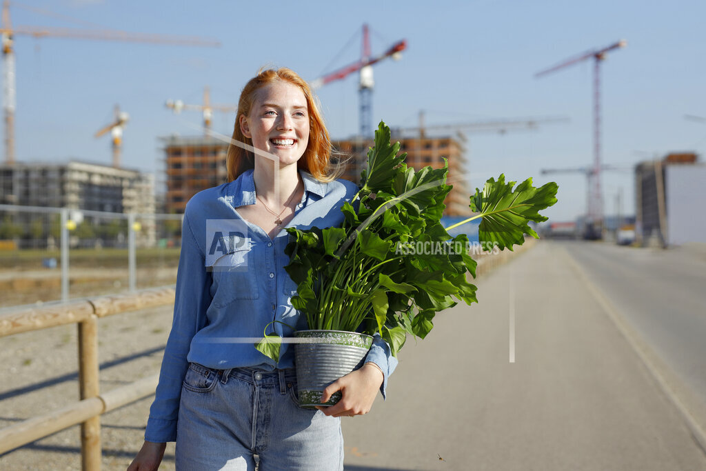 Redhead woman with plant walking on road at construction site