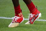 San Francisco 49ers wide receiver Emmanuel Sanders wears cheats honoring Kobe Bryant before the NFL Super Bowl 54 football game between the San Francisco 49ers and Kansas City Chiefs Sunday, Feb. 2, 2020, in Miami Gardens, Fla. (AP Photo/Matt York)