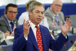 Brexit Party leader Nigel Farage addresses Parliament Members during a session at the European Parliament Wednesday, Sept. 18, 2019 in Strasbourg, eastern France. The risk of Britain leaving the European Union without a divorce deal remains