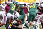 Baylor running back Abram Smith scores against Texas Southern in the first half of an NCAA college football game, Saturday, Sept. 11, 2021, in Waco, Texas. (Rod Aydelotte/Waco Tribune-Herald via AP)