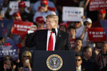 President Donald Trump gestures during a campaign rally in Montoursville, Pa., Monday, May 20, 2019. (AP Photo/Matt Rourke)