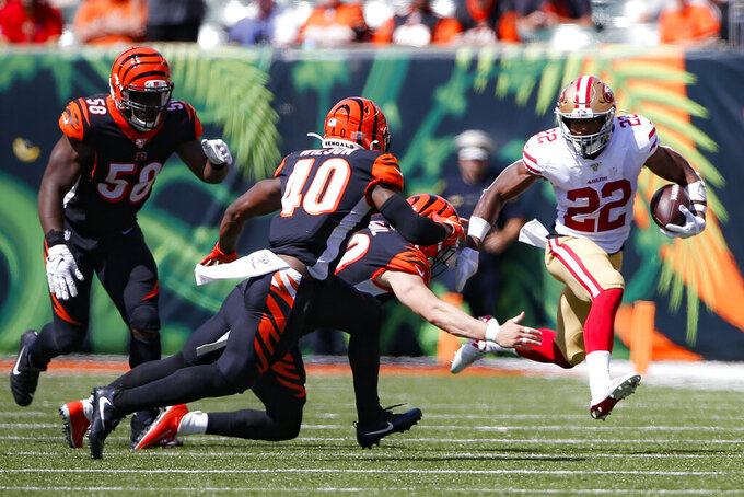 San Francisco 49ers running back Matt Breida (22) runs the ball during the first half an NFL football game against the Cincinnati Bengals, Sunday, Sept. 15, 2019, in Cincinnati. (AP Photo/Gary Landers)