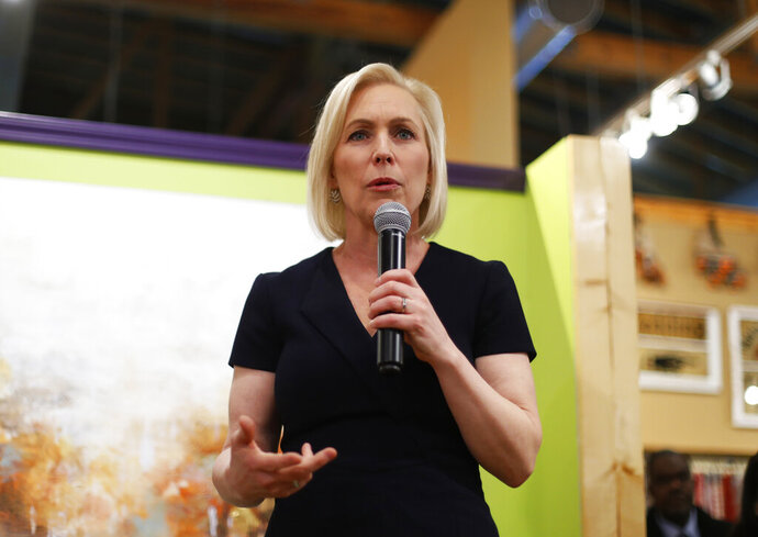 In this Monday, March 18, 2019, photo, Democratic presidential candidate Sen. Kirsten Gillibrand, D-N.Y., speaks at a campaign meet-and-greet in Clawson, Mich. Gillibrand is preparing to speak Sunday at the Trump International Hotel & Tower in New York. (AP Photo/Paul Sancya)