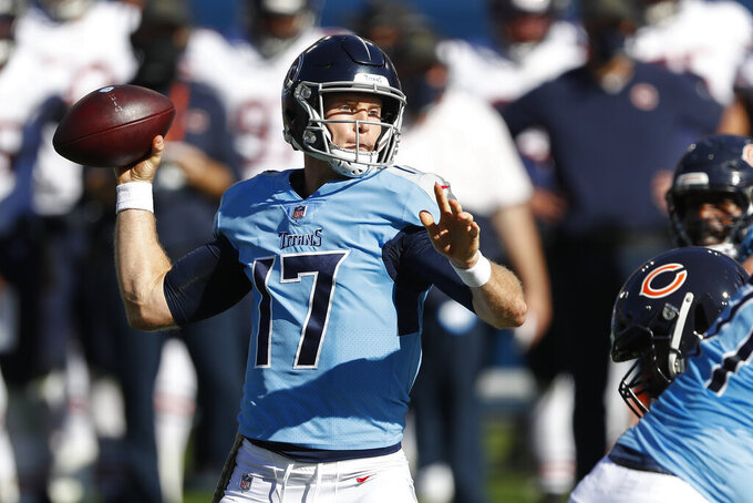Tennessee Titans quarterback Ryan Tannehill (17) passes against the Chicago Bears in the first half of an NFL football game Sunday, Nov. 8, 2020, in Nashville, Tenn. (AP Photo/Wade Payne)