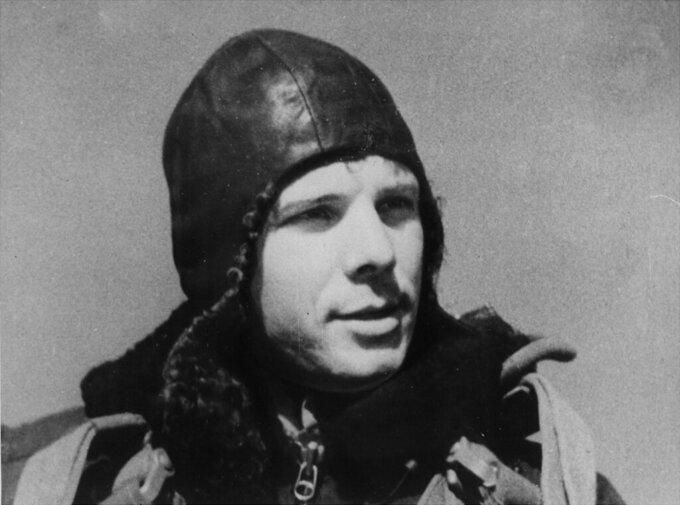 FILE - This undated file photo shows Soviet cosmonaut Yuri Gagarin, who orbited the earth in a space ship. Soviet cosmonaut Yuri Gagarin became the first human in space 60 years ago. The successful one-orbit flight on April 12, 1961 made the 27-year-old Gagarin a national hero and cemented Soviet supremacy in space until the United States put a man on the moon more than eight years later. (TASS News Agency via AP, File) JAPAN OUT