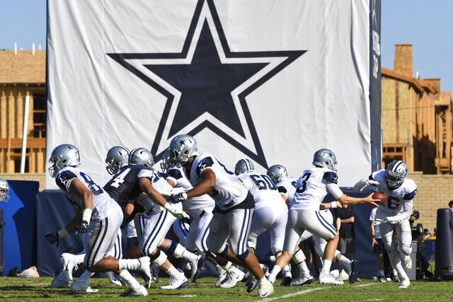 FILE - In this Monday, July 29, 2019, file photo, Dallas Cowboys practice at the NFL football team's training camp in Oxnard, Calif. The coronavirus pandemic forced the NFL to abandon, at least for 2020, the fading but still time-honored tradition of teams traveling to training camp. (AP Photo/Michael Owen Baker, File)