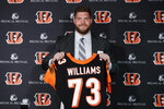 Cincinnati Bengals first-round draft pick Jonah Williams poses for a photo with his jersey number during a news conference at Paul Brown Stadium, Friday, April 26, 2019, in Cincinnati. (AP Photo/John Minchillo)