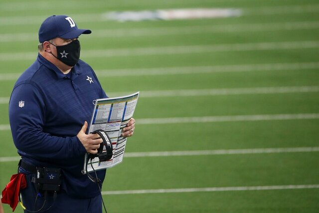 Dallas Cowboys head coach Mike McCarthy watches play against the Atlanta Falcons in the first half of an NFL football game in Arlington, Texas, Sunday, Sept. 20, 2020. (AP Photo/Ron Jenkins)