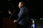 "FILE - In this Oct. 30, 2018, file photo Salesforce CEO Marc Benioff speaks at a SPUR luncheon in San Francisco. In a forthcoming book, ""Trailblazer,"" due out Oct. 15, 2019, Benioff calls on activist CEOs to lead a revolution that puts the welfare of people and the planet ahead of profits. (AP Photo/Eric Risberg, File)"