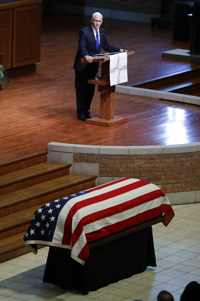 Vice President Mike Pence speaks during a funeral service for Sen. Richard Lugar, Wednesday, May 15, 2019, in Indianapolis. Lugar was a longtime Republican senator and former Indianapolis mayor who's been hailed as an