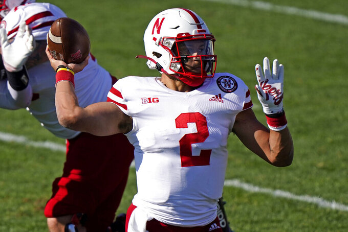 Nebraska quarterback Adrian Martinez throws against Northwestern during the first half of an NCAA college football game in Evanston, Ill., Saturday, Nov. 7, 2020. (AP Photo/Nam Y. Huh)