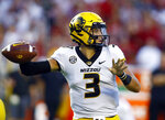 Missouri quarterback Drew Lock (3) begins to throw a pass during the first half of the team's NCAA college football game against Alabama, Saturday, Oct. 13, 2018, in Tuscaloosa, Ala. (AP Photo/Butch Dill)