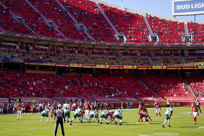 A limited amount of fans look on at Arrowhead Stadium as the New York Jets play the Kansas City Chiefs in the first half of an NFL football game on Sunday, Nov. 1, 2020, in Kansas City, Mo. (AP Photo/Jeff Roberson)