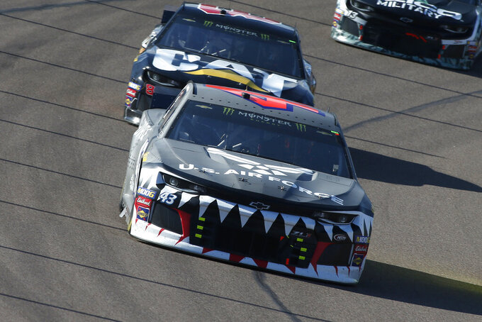 Bubba Wallace (42) drives during the NASCAR Cup Series auto race at ISM Raceway, Sunday, Nov. 10, 2019, in Avondale, Ariz. (AP Photo/Ralph Freso)
