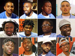 This combination of photos released by David Jassy shows San Quentin State Prison inmates, top row from left, Daniel
