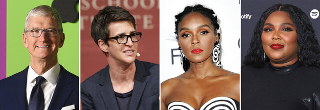 This combination photo shows Apple CEO Tim Cook, from left, MSNBC's Rachel Maddow and singers Janelle Monae and Lizzo. Pride Media announced Thursday, Nov. 19, 2020, that Cook, Maddow, Monae and Lizzo have made Out magazine's Out100 list, honoring the 100 most influential LGBTQ+ people of the year. (AP Photo)