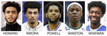 This combo of file photos show, from left, Marquette guard Markus Howard, Louisville junior forward Jordan Nwora, Seton Hall senior guard Myles Powell, Michigan State senior guard Cassius Winston, and Memphis freshman James Wiseman. The five NCAA college basketball players headline The Associated Press 2019-20 preseason All-America team announced Tuesday, Oct. 22, 2019. (AP Photo/File)