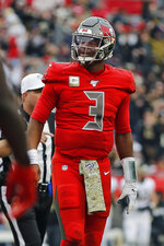 Tampa Bay Buccaneers quarterback Jameis Winston (3) reacts after throwing an interception to New Orleans Saints cornerback P.J. Williams during the second half of an NFL football game Sunday, Nov. 17, 2019, in Tampa, Fla. (AP Photo/Mark LoMoglio)