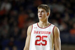 Davidson forward Bates Jones, brother of New York Giants NFL football quarterback Daniel Jones, looks on during the first half of an NCAA college basketball game against Auburn at the Veterans Classic Tournament, Friday, Nov. 8, 2019, in Annapolis, Md. (AP Photo/Julio Cortez)