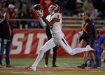 Fresno State wide receiver KeeSean Johnson (3) pulls in a touchdown catch during the first half of an NCAA college football game against New Mexico in Albuquerque, N.M., Saturday, Oct. 20, 2018. (AP Photo/Andres Leighton)