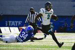 Coastal Carolina running back Reese White (2) evades a tackle by Georgia State safety Antavious Lane (34) as he runs for a touchdown during the first half of an NCAA football game Saturday, Oct. 31, 2020, in Atlanta. (AP Photo/John Amis)