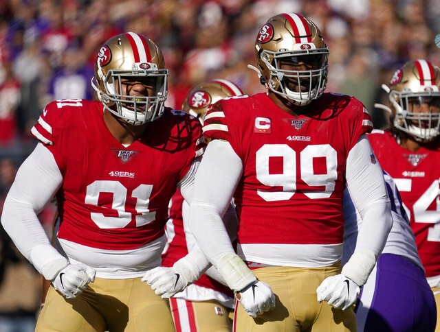 FILE - In this Jan. 11, 2020, file photo, San Francisco 49ers defensive end Arik Armstead, left, and defensive tackle DeForest Buckner (99) react to a play against the Minnesota Vikings during the first half of an NFL divisional playoff football game in Santa Clara, Calif. The defending NFC champion 49ers signed Armstead to a five-year contract worth up to $85 million on Monday, March 16, 2020, to keep him off the open market and then immediately agreed to a deal to send Buckner to Indianapolis. (AP Photo/Tony Avelar, File)