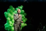 Chairman of the Green League Pekka Haavisto speaks at the Greens' election party in Helsinki, Finland, after the first results were announced on Sunday, April 14, 2019. (Roni Rekomaa/Lehtikuva via AP)