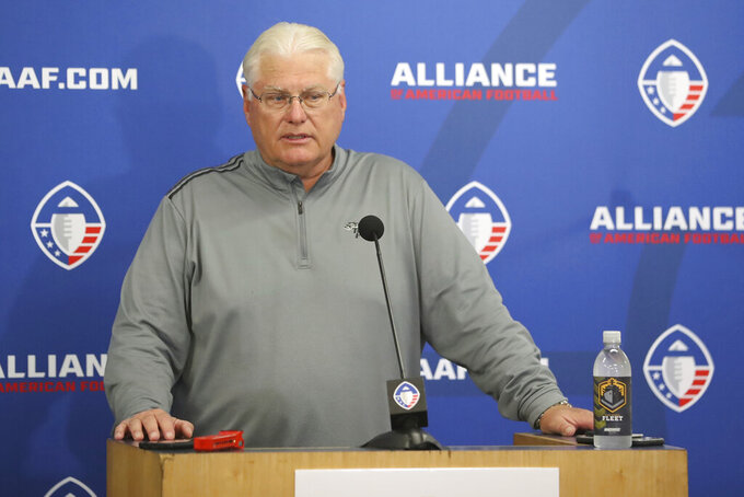 FILE - In this March 17, 2019, file photo, San Diego Fleet head coach Mike Martz talks to the media in San Diego. The Alliance of American Football is suspending operations eight games into its first season. A person with knowledge of the decision tells The Associated Press the eight-team spring football league is not folding, but games will not be played this weekend. The decision was made by majority owner Tom Dundon. The person spoke to The Associated Press on condition of anonymity because league officials were still working through details of the suspension. An announcement from the league is expected later Tuesday, April 2, 2019.(AP Photo/Peter Joneleit, File)