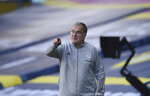 Leeds United's head coach Marcelo Bielsa reacts during the English Premier League soccer match between Leeds United and Fulham at Elland Road Stadium, in Leeds, England, Saturday, Sept. 19, 2020. (Oli Scarff/Pool via AP)