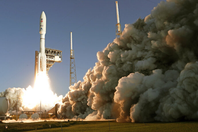 A United Launch Alliance Atlas V rocket lifts off from pad 41 at the Cape Canaveral Air Force Station Thursday, July 30, 2020, in Cape Canaveral, Fla. The mission will send a Mars rover to the Red Planet to search for signs of life, explore the planet's geology and much more. (AP Photo/John Raoux)