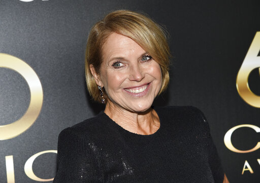 """FILE - In this Wednesday, Sept. 25, 2019 file photo, Television journalist Katie Couric attends the 60th annual Clio Awards at The Manhattan Center in New York. Live Nation announced Thursday, Oct. 14, 2021, that Jennifer Garner, Brad and Kimberly Paisley and """"Saturday Night Live"""" performers Chloe Fineman and Melissa Villaseñor will join Couric on her book tour, which run Oct. 28-Nov. 15. (Photo by Evan Agostini/Invision/AP, File)"""