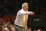 Oregon State head coach Wayne Tinkle calls out to players during the second half of an NCAA college basketball game against California in Corvallis, Ore., Saturday, Feb. 9, 2019. Oregon State won, 79-71. (AP Photo/Amanda Loman)