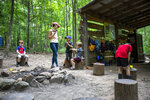 A class is seen during the Wauhatchie School forest day camp at Reflection Riding Arboretum and Nature Center on Thursday, July 1, 2021 in Chattanooga, Tenn. (Troy Stolt/Chattanooga Times Free Press via AP)