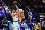 Seton Hall's Sandro Mamukelashvili (23) shoots over Creighton's Mitch Ballock (24) during the first half of an NCAA college basketball game Wednesday, Jan. 27, 2021, in Newark, N.J. (AP Photo/Frank Franklin II)