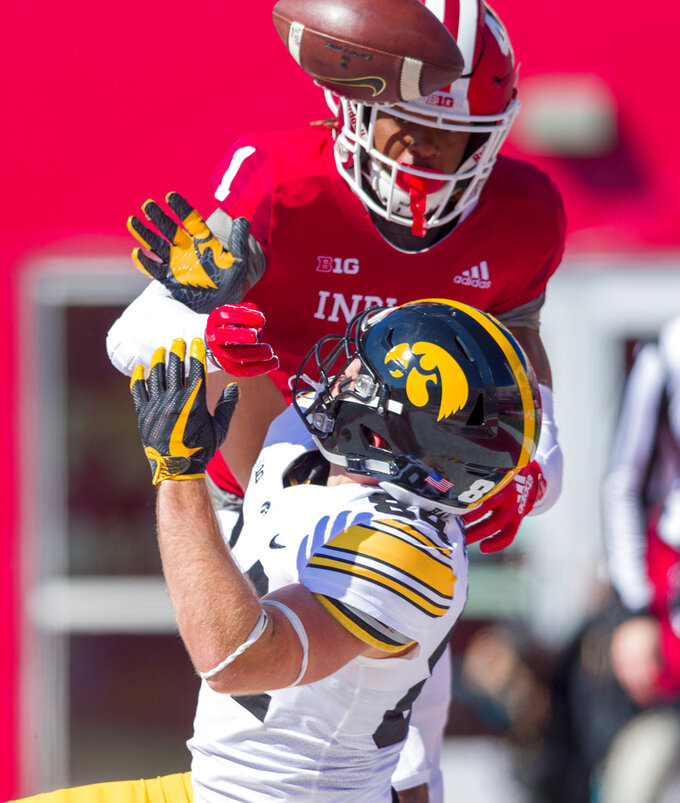 Indiana defensive back Juwan Burgess (1) breaks up a pass in the end zone intended for Iowa wide receiver Nick Easley (84) during the first half of an NCAA college football game Saturday, Oct. 13, 2018, in Bloomington, Ind. (AP Photo/Doug McSchooler)