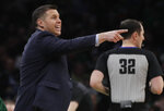 Sacramento Kings head coach David Joerger instructs his team in the first half of an NBA basketball game against the Boston Celtics, Thursday, March 14, 2019, in Boston. (AP Photo/Elise Amendola)