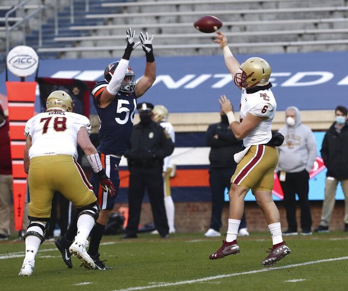 Boston College quarterback Dennis Grosel (6) throws a pass against Virginia during an NCAA college football game Saturday, Dec. 5, 2020, in Charlottesville, Va. (Erin Edgerton/The Daily Progress via AP)