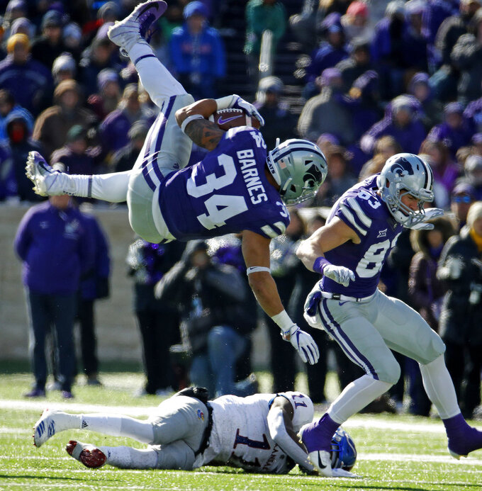Barnes, Delton lift K-State to sloppy 21-17 win over Kansas