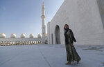 Ivanka Trump, the daughter and senior adviser to U.S. President Donald Trump visits the Sheikh Zayed Grand Mosque in Abu Dhabi, United Arab Emirates, Saturday, Feb. 15, 2020.  Trump will deliver keynote address at Global Women's Forum in Dubai tomorrow. (AP Photo/Kamran Jebreili)